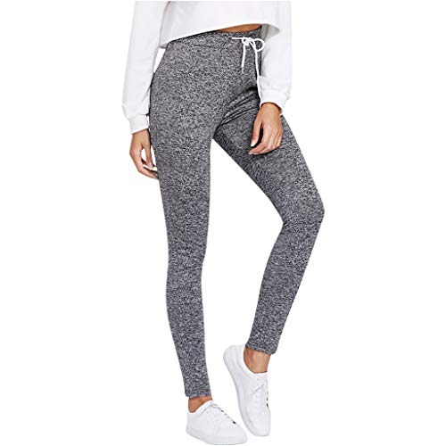 Price comparison product image Beihxwe Women Casual Solid Color Elastic Drawstring Studio Jogger Pants Summer High Waist Fitness Trousers (M,  Gray)