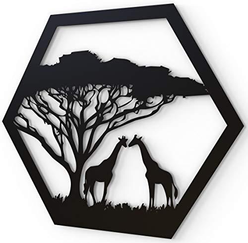 JustComfy Wanddeko aus Metall   37x32cm   Wand Dekor aus schwarzem Metall   Metallbilder als Moderne Wanddekoration für Wohnzimmer & Flur   Motiv Giraffen
