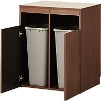 届け先法人限定 オフィスコム セルボ ゴミ箱収納用カウンター ゴミ箱2個セット (ベルク 70S 角型 70Lサイズ) 木製 ダークブラウン 幅796×奥行608×高さ950mm CELVO-TRC-8060T2-DB
