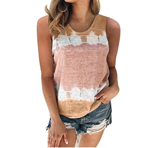 Andouy Damen Tie-Dye T-Shirt Farbblock Kurzarm/Ärmellos Oberteile Oversized Rundhals Casual Bluse(XL.Khaki)