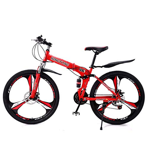 ZTYD Mountain Bike Folding Bikes, 24-Speed Double Disc Brake Full Suspension Anti-Slip, Lightweight Aluminum Frame, Suspension Fork, Multiple Colors-24 Inch/26 Inch,Red2,26 inch