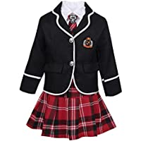 TiaoBug 4Pcs Uniforme Escolar Japonés Coreano Británico Niñas Muchachas Traje Conjunto Manga Larga Algodón Invierno Disfraz de Marinera Niñas Negro 10-12 Años