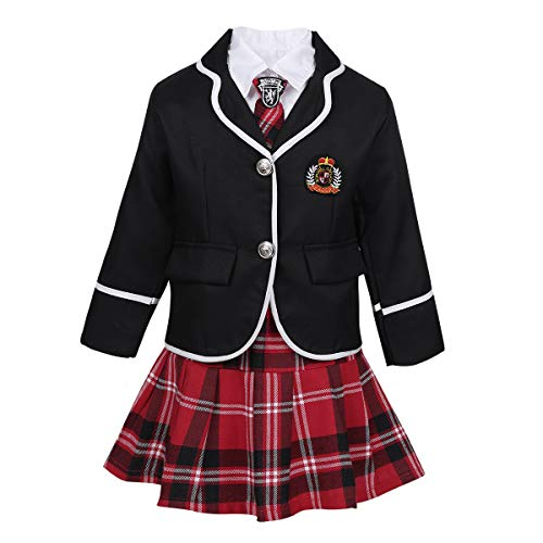 JEEYJOO Kids Girls Anime Cosplay Costume Outfits Long Sleeve Jacket with Shirt Tie Plaid Skirt Set School Uniform Black 10-12