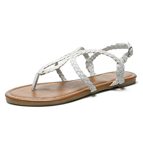SANDALUP Flat Sandals Hand-Woven with Canvas for Summer Women. White 11