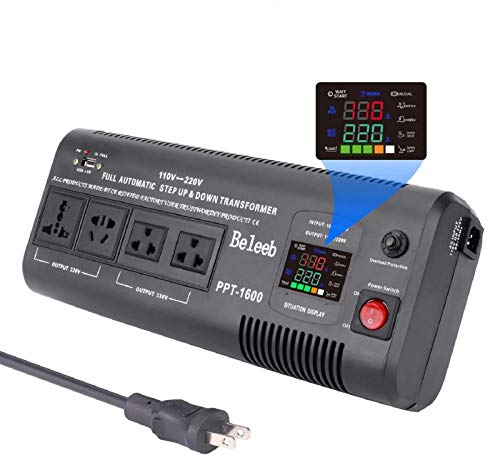 Beleeb 1500W Smart Auto Step Up & Step Down Voltage Converter Transformer 110 120 Volt to 220/240 Volt AC Automatic LED Display Asia Euro US (220V to 110V, 110V to 220V) PPT-1600