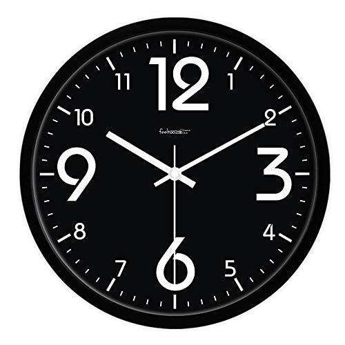 HomeClock - Orologio da Parete Silenzioso, con quadrante Rotondo e Grande al Quarzo, Colore: Nero, Schwarzer Rahmen, 12 Pollice