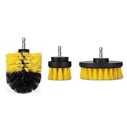 EsportsMJJ 3 stuks 2/3,5/4 inch geel/wit power scrub boren reinigingsborstel voor elektrische boormachine beige