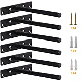 Heavy Duty Floating Shelf Bracket (Set of 6) – Solid Steel Blind Shelf Supports - Hidden Brackets for...