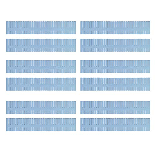 Mousyee Divisor de Cajón, 12 Piezas Separadores de Cajón Separador de Armario de Plástico DIY Ajustable de 32 x 7 cm Contenedor Organizador de Partición para Dormitorio de Oficina en Casa (Azul)