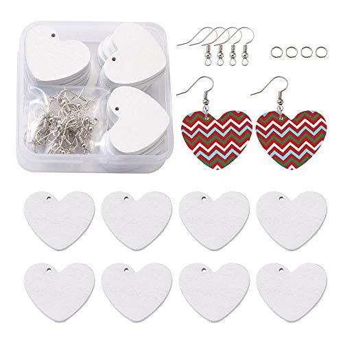 Cheriswelry 20 colgantes de madera con diseño de corazón en blanco con anillos de salto y ganchos para pendientes para hacer joyas