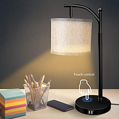 XZN Touch Control Bedside Table Lamp with USB Ports (Dual), Dimmable Eye-Caring Table Lamp with Rotatable Lampshade, Linen Fabric Lampshade, Bulb Included, Side Table Lamp for Bedroom, Living Room