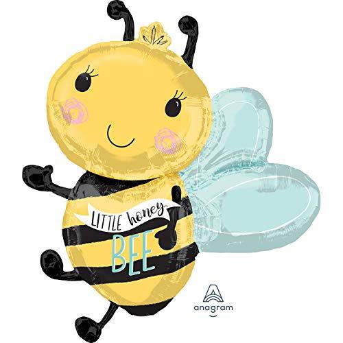 Folienballon * Biene * als Deko für Mottoparty und Kindergeburtstag | Größe: 76cm | Partydeko Kinder Geburtstag Bee Imker Honig Ballon Dekoration Tier Tiere Wilde süß XXL groß