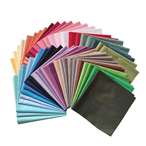 N A 50 Stück Baumwollstoff 100% Baumwolle Patchwork 20x20cm Stoff Quadrate Nähstoffe Stoffpaket Reine Farben für DIY Nähen Handwerk Deko