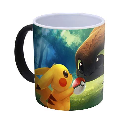 Pokemon Detective Pikachu taza de café mágica que cambia de color, reactiva con el calor, taza de té POK, cerámica, Entrena a mi dragón