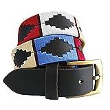 Carlos Diaz Cinturón Polo de Cuero Bordado Marrón Premium de Diseñador para Hombres Mujeres Unisex (80 cm/ 30-32 Inches)