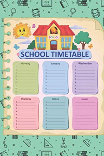 School Timetable: A5 timetable for kids, calendar with notes and to-do list, space for stickers, weekly schedule ... back to school outfits for girls & boys