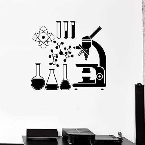 JXMK wetenschap Muursticker voor school, klaslok, decor microscoop, wetenschappers, afneembaar vinyl, Windows stickers, tienerkamer, muursticker, 91 x 84 cm