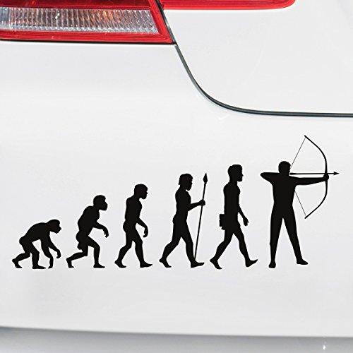 Motoking Autoaufkleber - Lustige Sprüche & Motive für Ihr Auto - Evolution Bogenschießen - 25 x 10,3 cm - Schwarz Seidenmatt