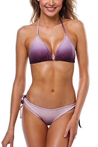 Charmleaks Damen Bikini Set Mit Schalen Cups Neckholder Bikinis Triangel Zweiteilige Strandkleidung Violett S