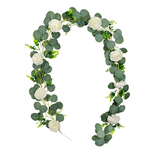 6.5ft Artificial Plant, Artificial Eucalyptus Garland Leaves With Rose Flower Greenery Faux Wreath Hanging Vine Fake Plant Indoor Outdoor For Wedding Party Table Garden Backdrop Arch Wall Decor