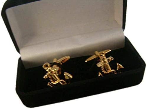 Pair of US Navy Marine Corps Officer Uniform Anchor Cuff Links Badge Gift