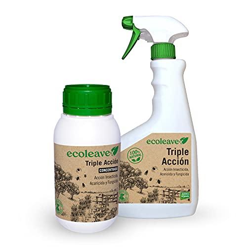 ECOLEAVEX Triple Acción Insecticida, Acaricida y Fungicida para Plantas, ECOLOGICO, 100% Natural y Residuo Zero. con Abonos, Micronutrientes y Bioestimulantes (Concentrado 20 Rellenos + pulverizador)