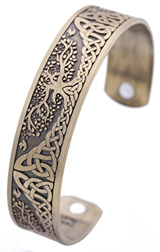 Lemegeton Yggdrasil World Tree of Life Bracelet Health Care Stainless Steel Cuff Bangle Bracelet for Men (Antique Bronze)
