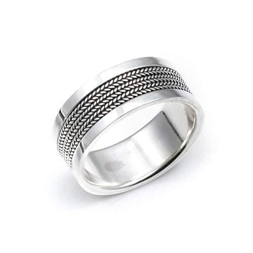 Silverly Anello Uomo Argento .925 Unisex Fascia Stile Balinese Pollice 9Mm