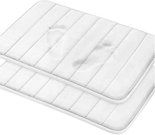 Utopia Home Paquet de 2 Tapis de Bain en Mousse à mémoire de Forme - Antidérapant au Dos, Douceur en Molleton de Corail, Très Absorbant (Blanc, 20x32 (51x81cm))