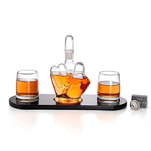 DLXYch Decantador del whisky de la novedad, juego del envase del vino de la forma del dedo medio, botella de vino del arte del borosilicato del