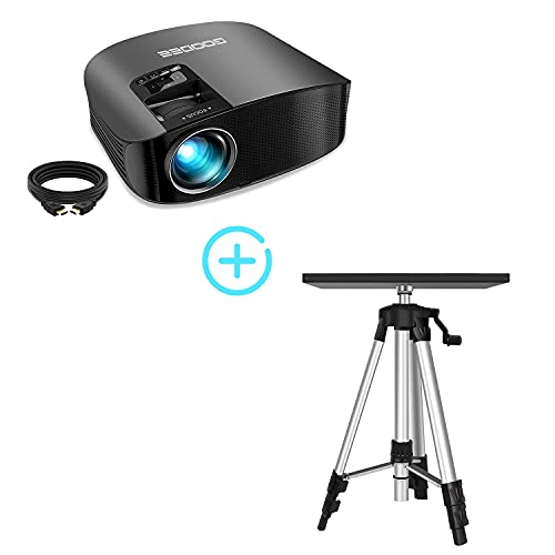 """Projector, GooDee 2021 Upgrade HD Video Projector 6800L Laptop Projector Tripod Stand, 1080P and 230"""" Support Home Theater Projector, Compatible with Fire TV Stick, PS4, HDMI, VGA, AV and USB, Black ("""