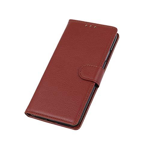 HAOTIAN Funda para Motorola Moto G9 Play Funda, [Flip Stand/Card Slot] Carcasa Libro de Cuero PU Tapa Billetera con Ranuras de Tarjeta Cierre Magnético Soporte Protección Case Cover, Marrón