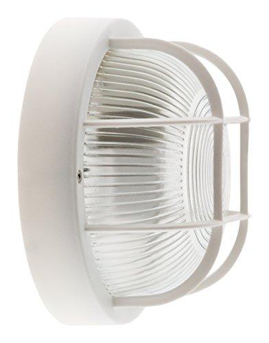 Hublot rond 60W avec grille IP44 E27 Classe II Blanc