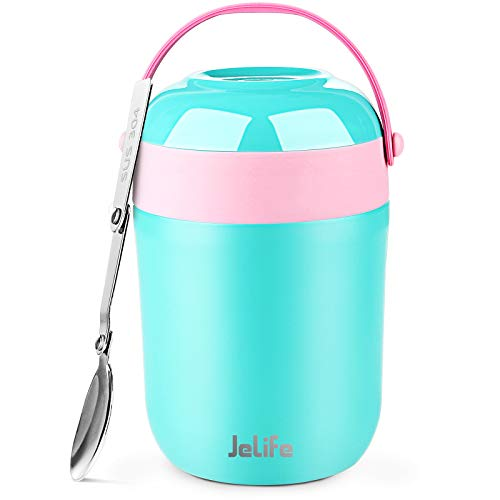 16oz Insulated Food Jar Hot Food Containers for Lunch School Soup Thermos for Kids, Jelife Vacuum Leak Proof Stainless Steel Lunch Bento Box with Foldable Spoon for Hot/Cold Food Travel Camping,Teal