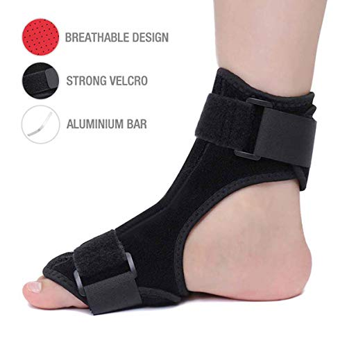 SGODDE Plantar Fasciitis Night Splint - Adjustable Orthotic Foot Drop Support Brace Unisex Fits for Right or Left Foot, Arch Support Effective Relieve Pain for Achilles Tendon Drop Foot