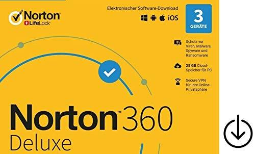 Norton 360 Deluxe 2020|OHNE ABO|keine Kreditkarte oder PayPal erforderlich|3Geräte|1Jahr|Aktivierungscode per Post [Lizenz][KEINE CD][NO