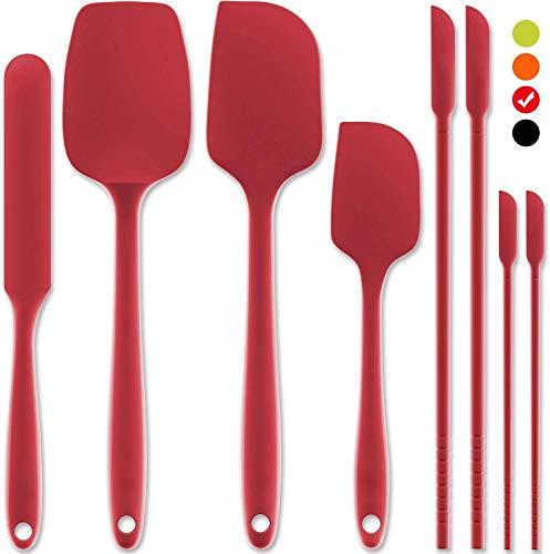 Korins Spatola in Silicone, Set di 8 Resistente al Calore Anti-Aderente Spatola di Gomma per Cuocere la Cottura di Miscelazione, Lavabile in Lavastoviglie Spatole da Cucina, Rosso