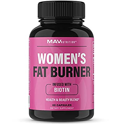 Fat Burner for Women Infused with Biotin 5000 mcg   Supports Weight Loss & Appetite Suppressant with Apple Cider Vinegar, Green Tea Extract   Gluten Free, Non-GMO, Vegetarian Friendly   60 Count