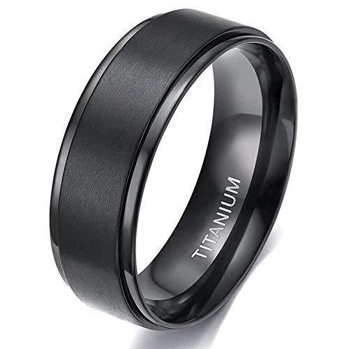Zakk Anello da uomo e donna, in titanio, anelli di fidanzamento, fedi nuziali, colore nero spazzolato, 4 mm, 6 mm, 8 mm e Titanio, 11, colore: Nero-8 mm., cod. T08090B055