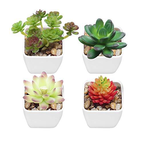 Gwotfy 4 Piezas de Plantas Artificiales, Plantas Artificiales para Interiores en macetas, Ideal para decoración del hogar, la Oficina y el Exterior