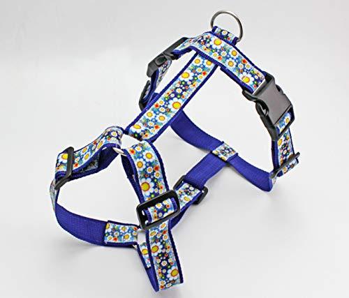 Hundegeschirr mit Margeriten Blumen, modern, Gurtband in blau, Brustgeschirr für Hunde