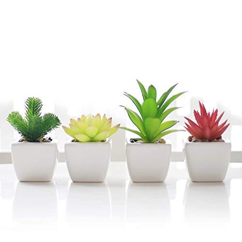 Veryhome Artificiale Succulente Falso Impianto Pianta in Vaso Mini Piazza Bianco Vaso di Fiori Famiglia Giardino Decorazione Verde (Vaso di Fiori in Ceramica - 4 Pezzi)