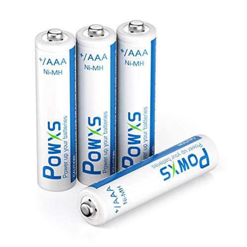 POWXS AAA Rechargeable Batteries 800mAh Pre-Charged Triple A Batteries 1.2V Long-Lasting Ni-MH AAA Size Batteries Suitable for Household - 4 Pack