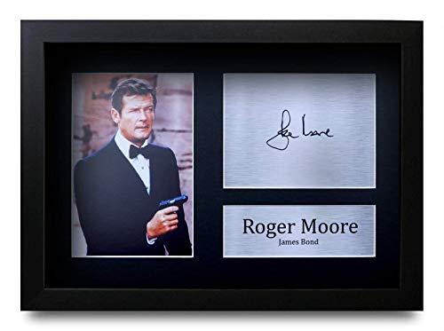 HWC Trading Roger Moore A4 Gerahmte Signiert Gedruckt Autogramme Bild Druck-Fotoanzeige Geschenk Für James Bond 007 Filmfans