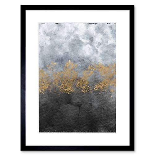 Wee Blue Coo Abstract Grey Gold Watercolour Art Print for sale  Delivered anywhere in UK