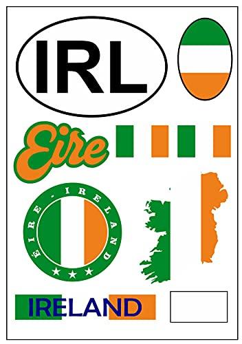 aprom Irland Aufkleber Karte Stickerbogen - PKW Auto Motorrad Biker Flagge Fahne Tuning
