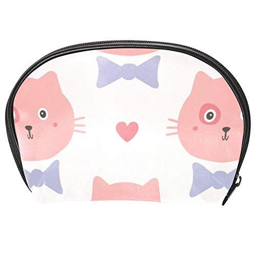Bennigiry Trousse de toilette multifonction avec fermeture Éclair Motif chats avec nœuds et cœurs