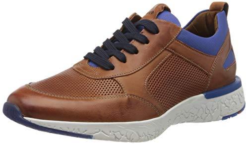 LLOYD Herren Low-Top Sneaker BANDOS, Männer Sneaker,VARIOFOOTBED, maennliche maskulin rustikal robust Men's Men Man,Whisky/ROYAL,7.5 UK / 41 EU