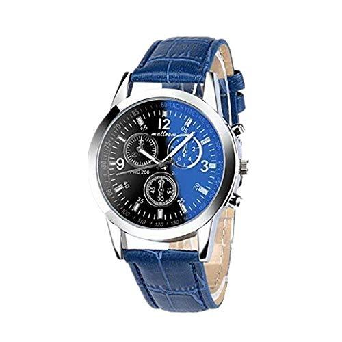 Toamen Moda Faux Leather Relojes De Cuarzo para Hombre (A)