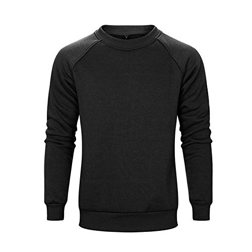 LBL Pull Homme Sweat-Shirt Casual avec Ras du Cou Manches Longues Fashion Hiver Noir 2XL